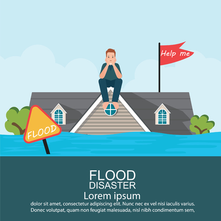 Anxious man sitting on roof of house after water flood emergency and waiting for helping, Flood disaster vector illustration.