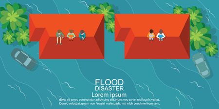 Top view of people sitting on roof of house after water flood emergency and waiting for helping, Flood disaster vector illustration. Ilustração