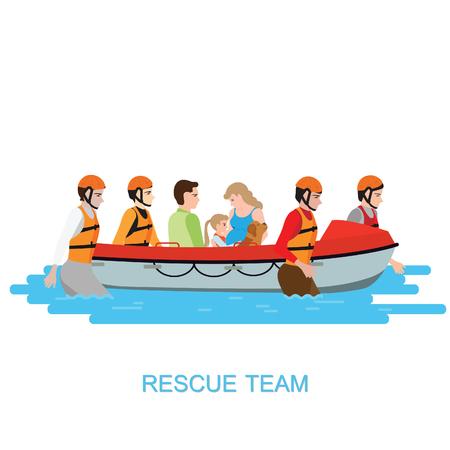 Squadra di salvataggio in barca che aiuta le persone spingendo una barca attraverso un isolato allagato su bianco, illustrazione vettoriale.