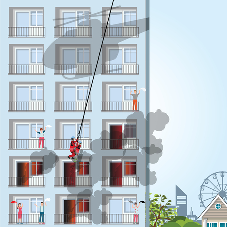 Building on fire with victim on apartment, firemen holding to save boy in his arms. Rescue helicopter vector illustration.