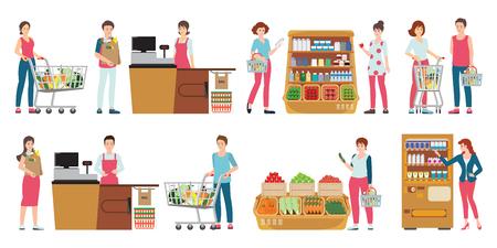 Cliente e cassiere in un supermercato isolato su bianco, la gente che compera al negozio di alimentari, personaggio dei cartoni animati illustrazione vettoriale.