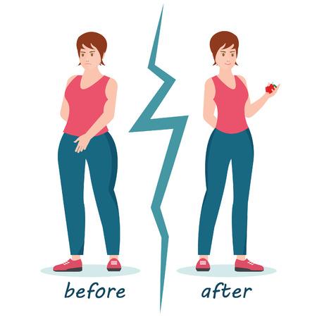 Successo di perdita di peso delle donne grasse e magre, donna prima e dopo la dieta pesa la perdita, illustrazione di vettore del personaggio dei cartoni animati concettuale stile di vita sano