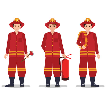 Fireman with helmet holding equipment isolated on white background, character cartoon vector illustration.