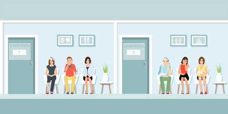Pacientes esperando al médico en la parte delantera de la sala de examen en el hospital, atención médica y diseño plano médico en ilustración vectorial.