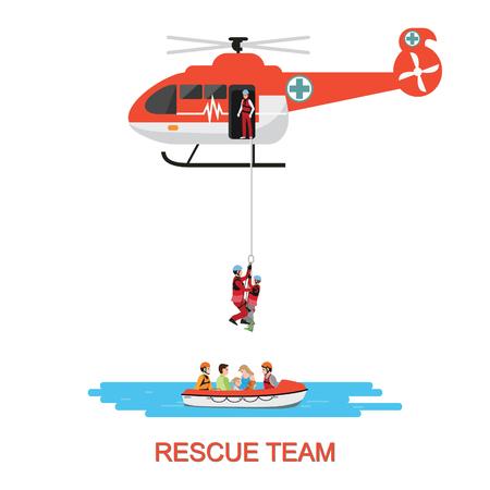 Squadra di soccorso con elicottero di soccorso e salvataggio in barca in missione di soccorso in mare o inondazioni, isolare su bianco, illustrazione vettoriale.