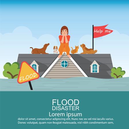 Femme triste assise sur le toit de la maison avec son animal de compagnie après une urgence d'inondation d'eau et en attente d'aide, illustration vectorielle de catastrophe d'inondation.