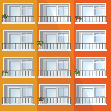 Window of colorful apartment building,architecture, design in flat, vector illustration.