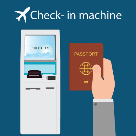Businessman using the check-in machine at the airport getting the boarding pass, self service check in, business travel conceptual vector illustration. Ilustração