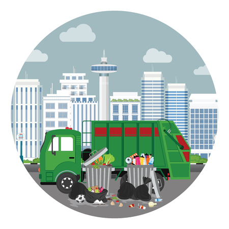 Garbage truck and plastics garbage can full of overflowing trash, littering waste disposed around the dust bin oncity view backkground, Vector illustration. Çizim