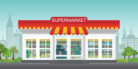 Supermarket store concept with people in supermarket grocery store, Supermarket building and interior with fresh food on shelves and counter cashier, Flat vector illustration.