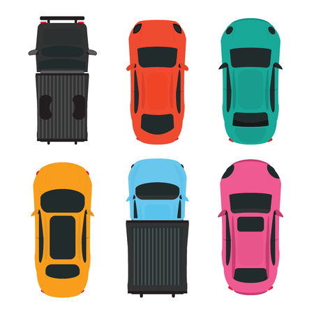 Top view of Colorful different car on white background, vehicles vector illustration.
