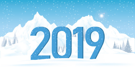2019 winter landscape with snow mountain , Christmas and new year, vector illustration.