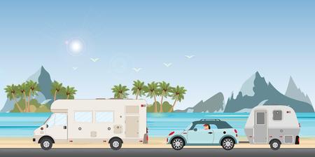 Coche de la caravana que conduce el coche en la carretera en la playa en las vacaciones, viajes de vacaciones familiares, viaje de vacaciones en autocaravana, vacaciones de coche de caravana en la ilustración de vector de diseño plano.