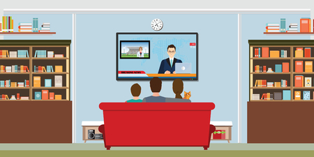 Family and cat watching TV daily news program sitting on the sofa at home in the living room, vector illustration.