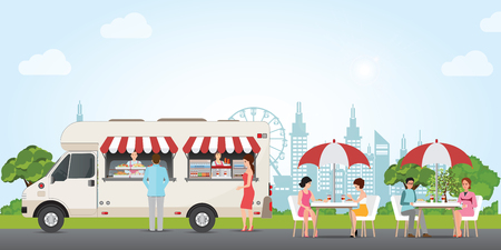 Fast food street truck concept with people buying and eating food and drink in city park, Street food car Vector flat cartoon illustration.