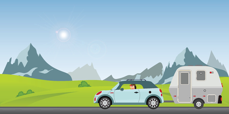 Happy couple driving car on road on a sunny spring day in the holiday, Family vacation travel, holiday trip in motorhome, Caravan car Vacation in flat design vector illustration.