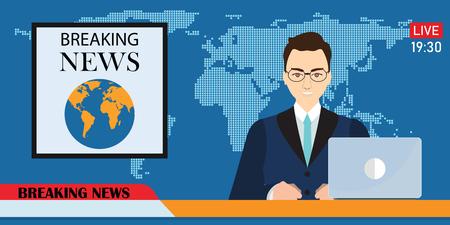 Headline or breaking news man tv reporter presenter sitting in a studio, in flat style Vector illustration. Illustration