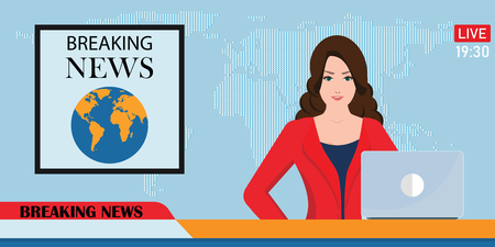 Headline or breaking news woman tv reporter presenter sitting in a studio, in flat style Vector illustration.