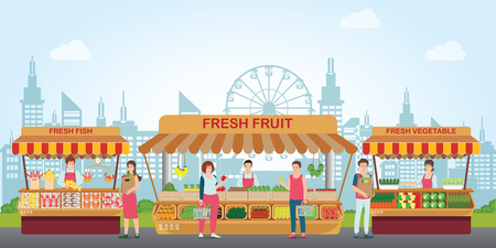 Local market place with fresh foods, Fish market, fresh fruit and vegetable on city view background, Cartoon characters flat style vector illustration.