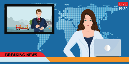 News anchor broadcasting the news with a reporter live on screen holding microphone interview in a heavy city flooding situation in flat style Vector illustration. Çizim