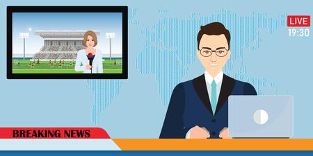 Ancre de nouvelles diffusant les nouvelles avec un journaliste en direct à l'écran tenant un match de football d'interview de microphone dans le stade, illustration vectorielle. Vecteurs