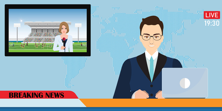News anchor broadcasting the news with a reporter live on screen holding microphone interview football match in stadium, Vector illustration.