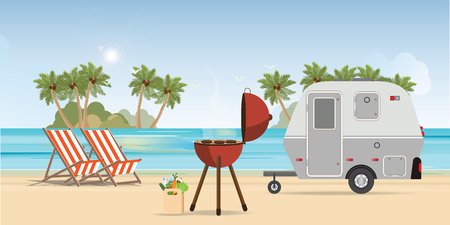 Retro caravan on the beach and picnic with outdoor barbecue, summer vacation,holiday trip in motorhome vector illustration.