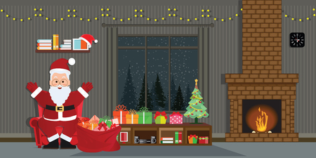 Santa Claus with Christmas tree and gift boxes in Christmas interior in flat style,decorate room with a fireplace, decorated for Christmas and new year vector illustration.