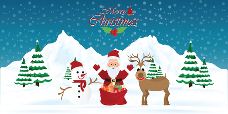Santa claus with snowman and reindeer, Merry christmas holiday. New year and xmas celebration. concept for greeting or postal card, vector illustration. Иллюстрация