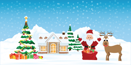 Santa Claus with snowy Christmas landscape, Christmas tree and gift boxes .Merry christmas holiday. New year and xmas celebration. concept for greeting or postal card, vector illustration.