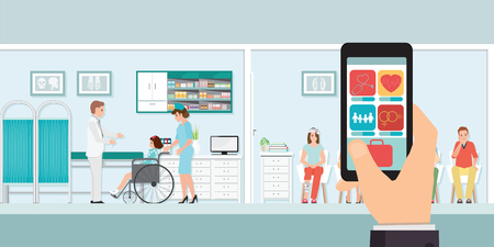 Smartphone innovative medical app with hospital, doctors and patients on the background, healthcare and technology concept vector illustration.