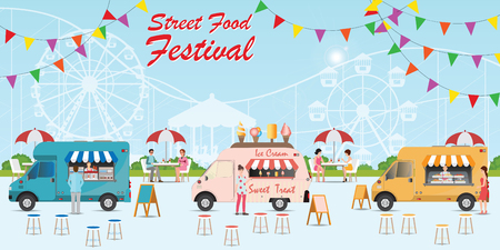 Street food truck festival with food and drink, with people buying and eating food in city park, Street food car Vector flat cartoon illustration.