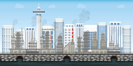 Chemical industrial landscape on urban city landscape with contemporary buildings on background, Polluting environment industrial conceptual vector illustration.