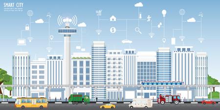 Concept de ville intelligente sur le paysage urbain avec différentes icônes et éléments, Paysage urbain avec des bâtiments modernes et des gratte-ciel illustration vectorielle.