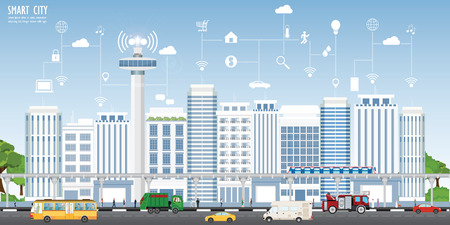 Concept of smart city on urban landscape with different icons and elements, Urban landscape with modern buildings and skyscrapers vector illustration.