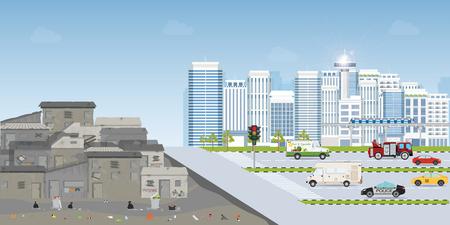 Kontraststadt zwischen Landschaft der Slumstadt oder Altstadt-Slum und urbaner Stadtlandschaft mit zeitgenössischen Gebäuden, Kluft zwischen Armut und Reichtum, konzeptionelle Vektorgrafik.