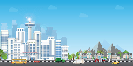 Landscape city with large modern buildings and suburb with private houses on a background mountains and hills, sky train street  with cars and people, Concept city and suburban life vector illustration.