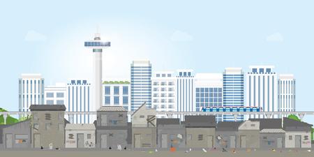 Landschaft von Slum-Stadt oder Altstadt-Slum auf urbaner Stadtlandschaft mit zeitgenössischen Gebäuden, Lücke zwischen Armut und Reichtum, konzeptionelle Vektorgrafik.