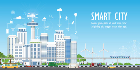Smart city on urban landscape with different icons and elements, Urban landscape with modern buildings and skyscrapers vector illustration. Иллюстрация