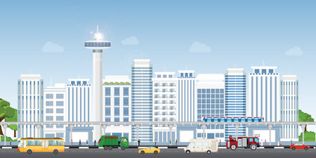 Urban city landscape with contemporary buildings, people and transportation, City life Concept, Flat style vector illustration.