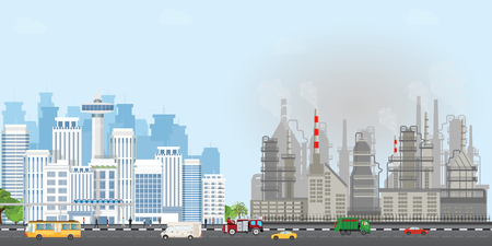 Urban city landscape with contemporary buildings and industrial smoke clouds the sky, Polluting environment industrial conceptual vector illustration.