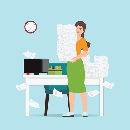 Busy business woman holding office paper , overworked employee isolated on background paperwork, Business concept, cartoon character Flat vector illustration Иллюстрация