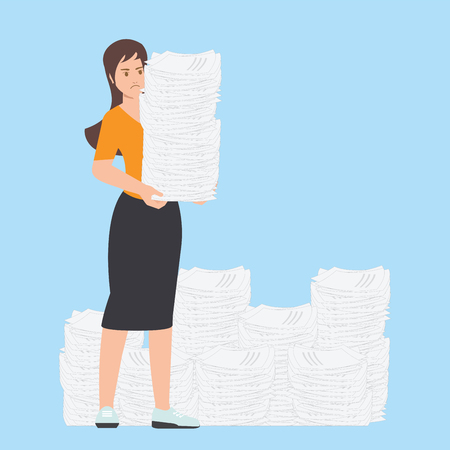 Busy business woman with stack of office paper , overworked employee isolated on background paperwork, Business concept, cartoon character Flat vector illustration.
