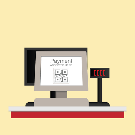 Cash register electronic QR code payment isolated on background, retail shop accepted digital pay without money, vector illustration.