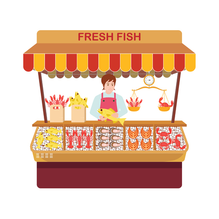 Fish market with sellers and seafood. Sellers of fish and their showcase in a Cartoon characters flat style vector illustration.