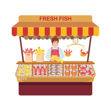 Mercato del pesce con venditori e frutti di mare. Venditori di pesce e la loro vetrina in un'illustrazione di vettore di stile piano di personaggi dei cartoni animati.