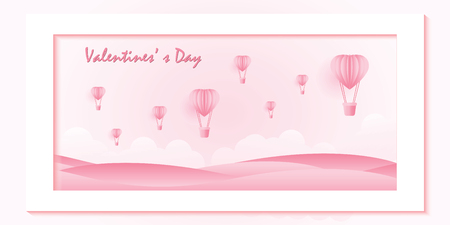Love and valentine day on sweet pink background, Origami made hot air balloon flying over the top of mountain with heart float on the sky, paper art style vector illustration.