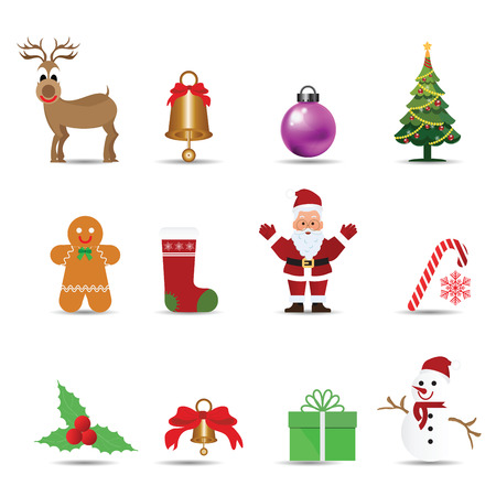 Set of Christmas decoration ornament isolated on white background, vector illustration.