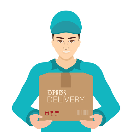 Smiling young delivery man in blue cap standing with parcel post box isolated on white background, vector illustration.
