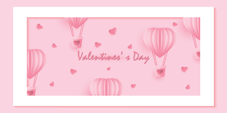 The hot air heart balloon on sweet pink background, Love and valentine day paper art style vector illustration.